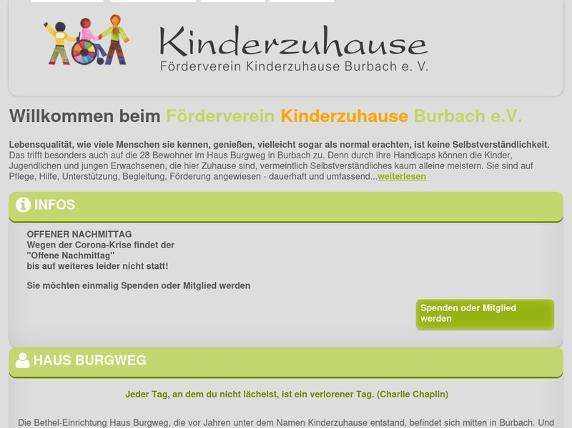 Screenshot von www.kinderzuhause-burbach.de